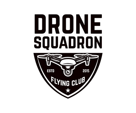 Emblem template with flying drone. Design element for logo, label, design. Vector illustration Ilustracja