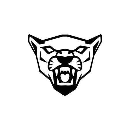 segno testa di puma. Elemento di design per logo della squadra sportiva, emblema, distintivo, mascotte. Illustrazione vettoriale
