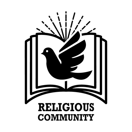 religious community. Emblem template with holy bible and dove. Design element for logo, label, emblem, sign. Vector illustration
