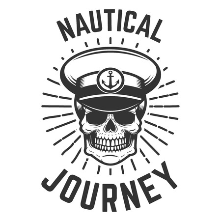 Nautical journey. Skull in boat captain hat. Design element for logo, label, emblem, sign.Vector illustration Stock Illustratie