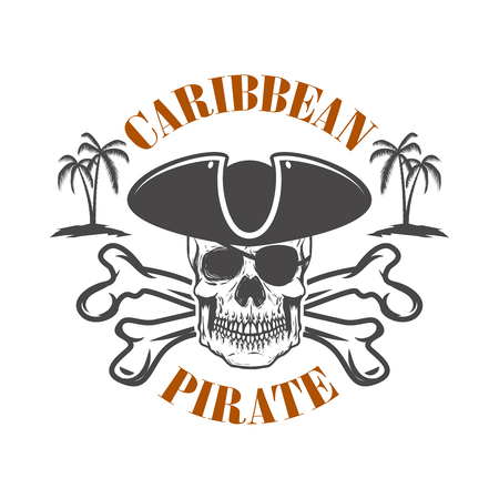 Caribbean pirate. Emblem with corsair skull and crossbones. Design element for logo, label, design. Vector illustration