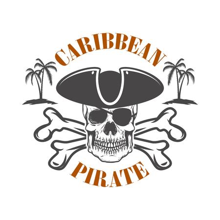 Pirate des Caraïbes. Emblème avec crâne de corsaire et os croisés. Élément de design pour logo, étiquette, design. Illustration vectorielle Logo