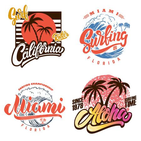 Club di surf alle Hawaii. Miami. Modelli di poster con scritte e palme. Immagine vettoriale