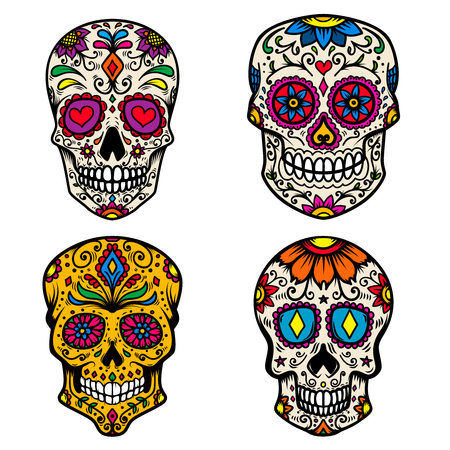 Set of colorful sugar skull isolated on white background. Day of the dead. Dia de los muertos. Design element for poster, card, banner, print. Vector illustration Foto de archivo - 105948496