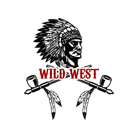 Wild west. Native american chief head. Design element for logo, label, sign. Vector illustration Ilustração