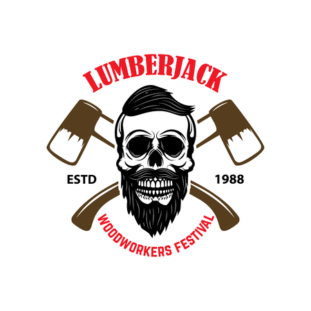 Emblem template with lumberjack skull and axes. Design element for logo, label, sign. Vector illustration Banque d'images - 105948499