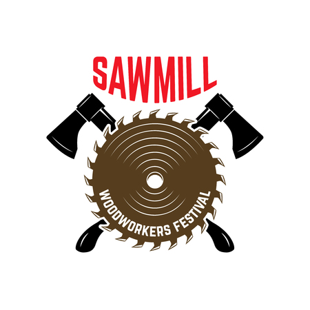 Emblem template with axe and saw mill. Design element for logo, label, sign. Vector illustration