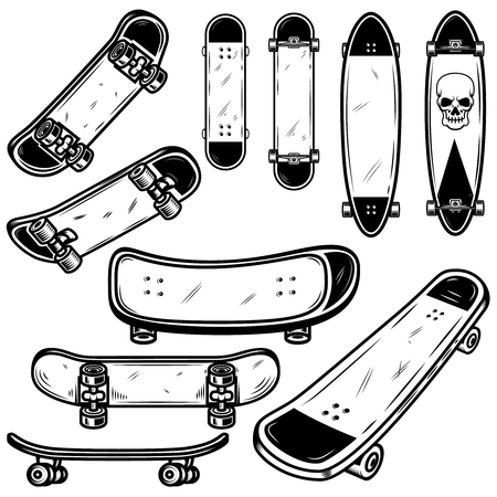 Set of skateboard and longboard illustrations on white background. Design element for logo, label, emblem, sign, badge, t shirt, poster. Vector image