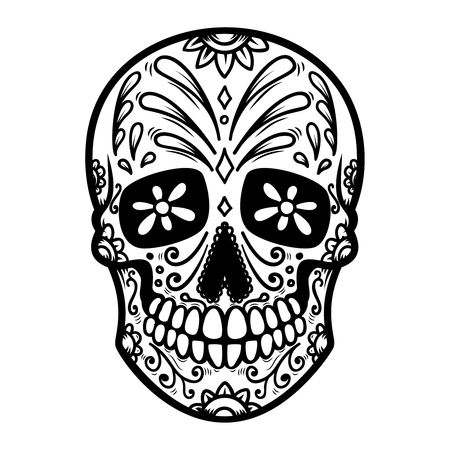 Illustration of mexican sugar skull. Day of the dead. Dia de los muertos.