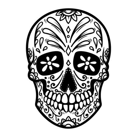 Illustratie van Mexicaanse suikerschedel. Dag van de Doden. Dia de los muertos. Vector Illustratie