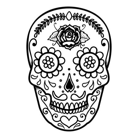 Illustration of mexican sugar skull. Day of the dead. Dia de los muertos. Design element for label, emblem, sign, poster, t shirt.