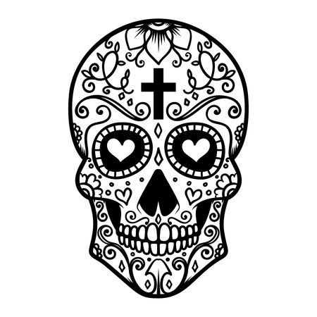 Illustration of mexican sugar skull. Day of the dead. Dia de los muertos. Design element for label, emblem, sign, poster, t shirt.