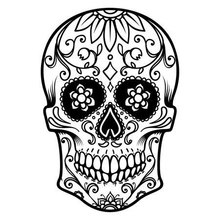 Illustration des mexikanischen Zuckerschädels. Tag der Toten. Dia de los muertos.Design-Element für Etikett, Emblem, Zeichen, Plakat, T-Shirt.