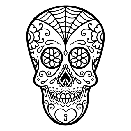 Illustration of mexican sugar skull. Day of the dead. Dia de los muertos.Design element for label, emblem, sign, poster, t shirt.