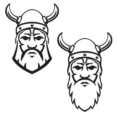Conjunto de cabeza de guerrero vikingo. Elemento de diseño de emblema, signo, divisa. Ilustración de vector