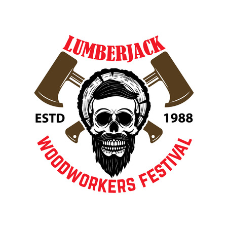 Lumberjack. Woodworkers festival. Emblem template with skull and hatchets.