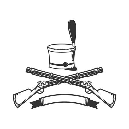 Modèle d'emblème avec fusils croisés et chapeau de hussard. Élément de design pour logo, étiquette, signe. Image vectorielle