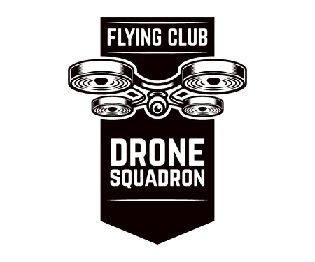 Emblem template with flying drone. Design element for logo, label, design.