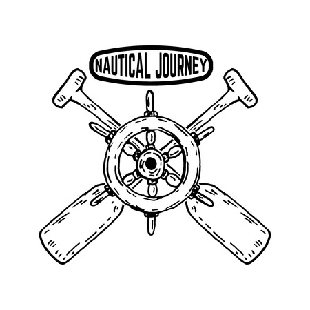 Nautical journey Emblem with Ship's steering wheel with crossed paddles . Design element for poster,sign, badge. Vector illustration