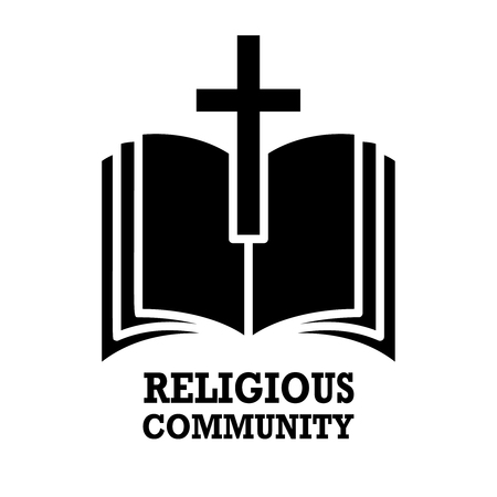 religious community. Emblem with Holy Bible and cross. Design element for label, emblem, sign, poster, t shirt. 일러스트