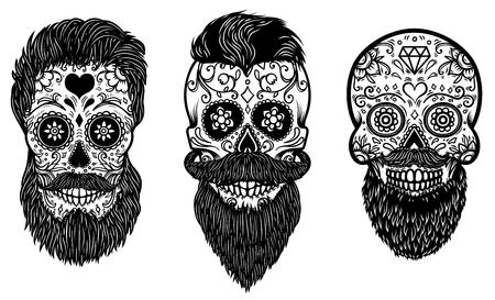 Set of bearded mexican sugar skulls with pattern. DAY OF THE DEAD. Design element for poster, greeting card, banner, t shirt, flyer, emblem. Vector illustration Illustration
