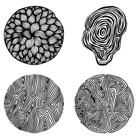 Set of hand drawn curly wavy doodle design elements for poster, banner, flyer, brochure. Vector image
