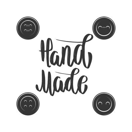 Handmade. Emblem template with buttons. Design element for sign, logo, label. Vector illustration