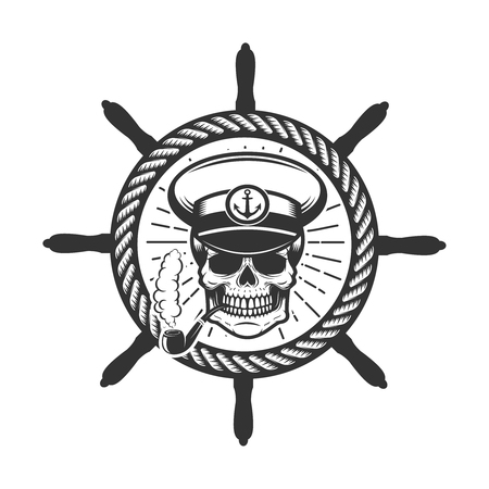 Skull in boat captain hat. Design element for icon, label, emblem, sign.