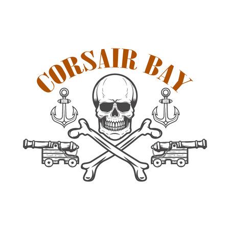 Pirate skull and cannons. Design element for poster, greeting card, banner, t shirt, flyer, emblem. Vector illustration