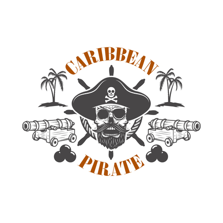 Pirate skull and cannons. Design element for poster, greeting card, banner, t shirt, flyer, emblem.