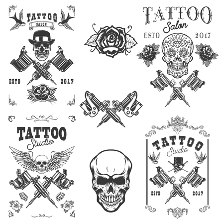 Set of tattoo studio emblems.Design element for label, emblem, sign, poster, t shirt.