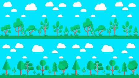 Set of natural forest landscapes, flat design vector illustration