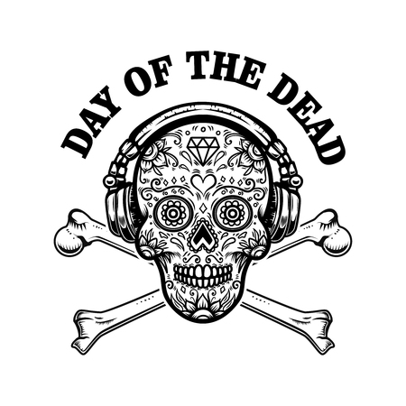 mexican sugar skull with headphones and crossbones. DAY OF THE DEAD. Design element for label, emblem, sign, poster, t shirt.