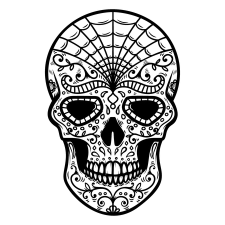 Illustration of mexican sugar skull. Day of the dead. Dia de los muertos. Design element for  label, emblem, sign, badge, poster, t shirt.