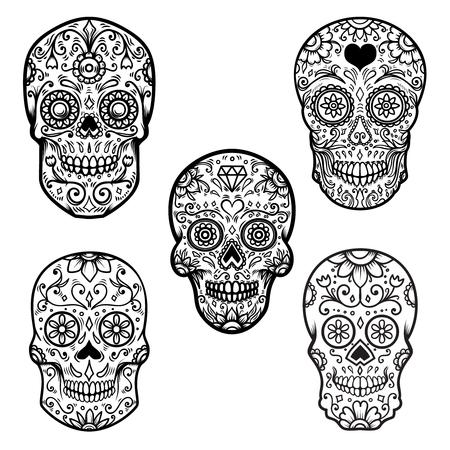 Conjunto de calavera de azúcar de colores aislado sobre fondo blanco. Dia de los Muertos. Dia de los muertos. Elemento de diseño de cartel, tarjeta, banner, impresión.