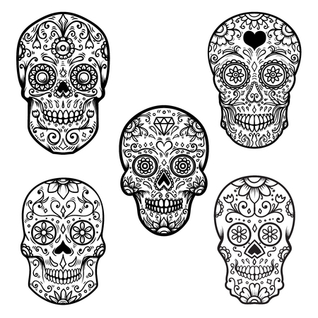 Set of colorful sugar skull isolated on white background. Day of the dead. Dia de los muertos. Design element for poster, card, banner, print.