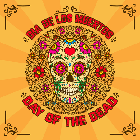 Day of the dead. Dia de los muertos. Banner template with mexican sugar skull on background with floral pattern. Design element for poster, card, flyer, t shirt. Vector illustration