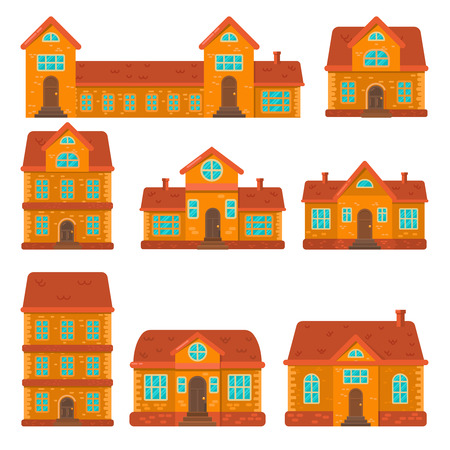 Set of houses illustrations in flat style. Design element for poster, banner , flyer, motion design, web page.