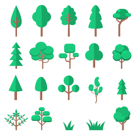 Set of tree illustrations in flat style isolated on white background. Design element for presentation, poster, banner, web page, flyer. Vector illustration