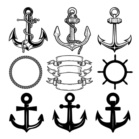 Set of the vector anchors. Label and logos design template. Vector illustration.