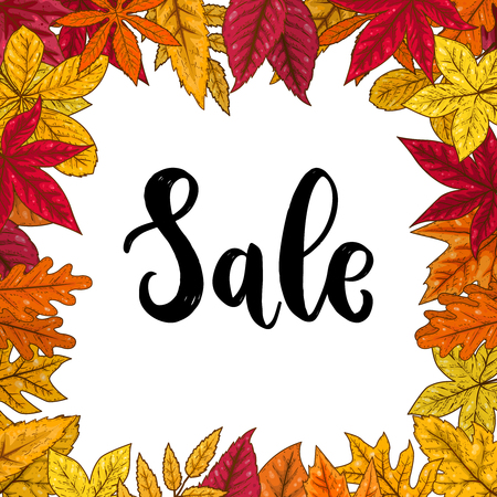 Sale.Border with autumn leaves. Design element for emblem, poster, card, banner, flyer, brochure. Vector illustration Illustration