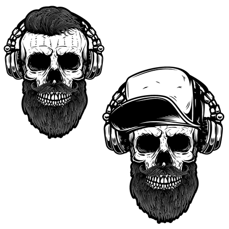 Set of bearded skull in headphones. Design element for poster, card, emblem, sign banner. Illustration