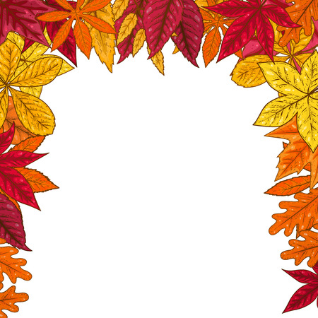 Border with autumn leaves. Design element for emblem, poster, card, banner, flyer, brochure. Vector illustration Illustration