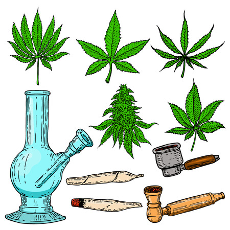 Set of cannabis design elements. Bong, cigarettes, buds, leaves,pipe for smoking marijuana. Vector illustration