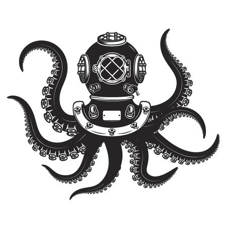 Casco de buzo con tentáculos de pulpo aislado sobre fondo blanco. Elementos de diseño para póster, camiseta. Ilustración vectorial.