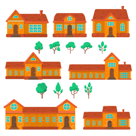 Set of houses illustrations in flat style. Design element for poster, banner , flyer, motion design, web page. Vector image  イラスト・ベクター素材