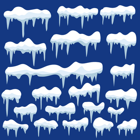 Set of snow and icicle illustrations. Design element for poster, card, banner, flyer, decor. Vector image