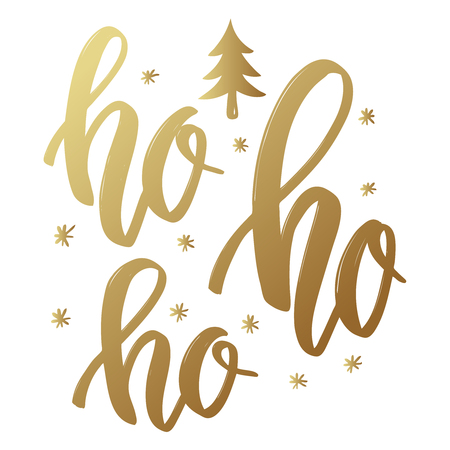 Ho ho ho. Lettering phrase in golden style on white background. Design element for poster, greeting card. Vector illustration Ilustração