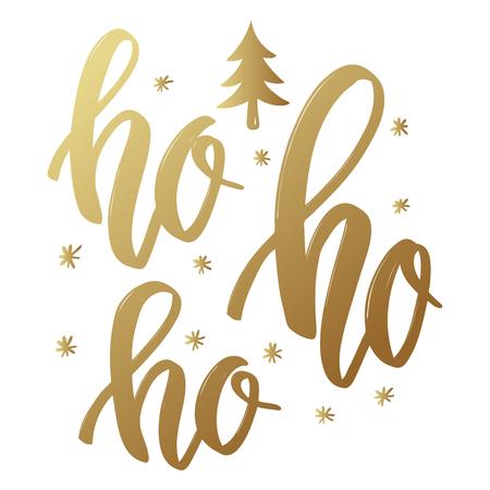 Ho ho ho. Lettering phrase in golden style on white background. Design element for poster, greeting card. Vector illustration Illustration