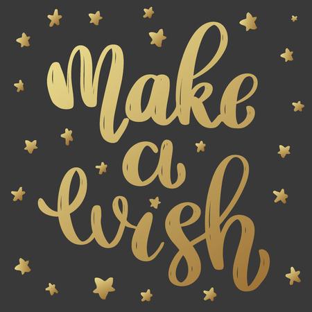 Make a wish. Lettering phrase in golden style on dark background. Design element for poster, greeting card, banner. Vector illustration Standard-Bild - 111776658